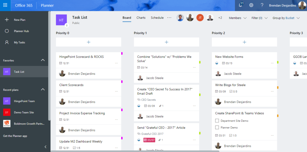 Microsoft Planner Project Board Example